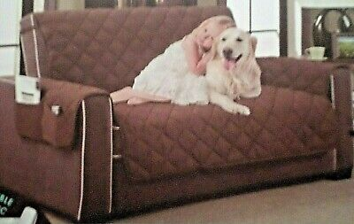 """HOME DYNAMIX quilted ultra-soft love seat cover Reversible Beige 88"""" x 70.5"""""""