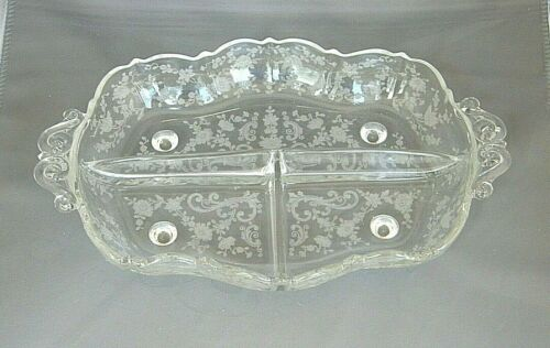 "3 Part Relish Dish-Chantilly Etching-Cambridge Elegant Glass-12"" Rectangle-Vtg"