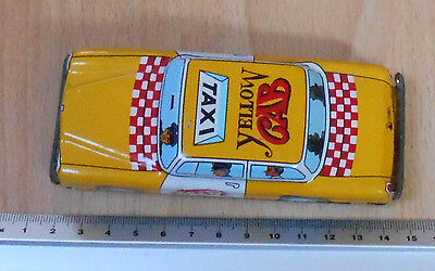 Japanese Tinplate Friction Yellow Taxi Yellow Cab on roof