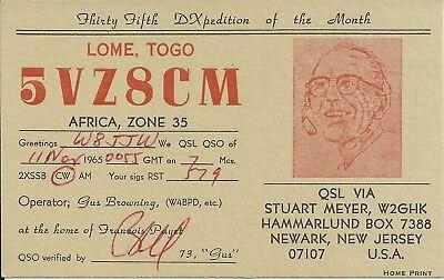OLD VINTAGE 5VZ8CM LOME TOGO AFRICA AMATEUR RADIO QSL CARD