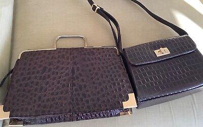 Vintage handbags two moc croc brown patent
