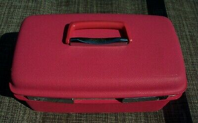 VTG Pink Samsonite Saturn Train Case Hard Cover Cosmetic Luggage Suitcase & Tray