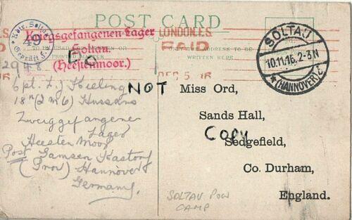 WW1 POW Prisoner of War letter card Soltau Germany L J Keeling 18th Hussars Mons