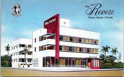 Miami Beach FL Revere Hotel 11th Street 1940s Linen Postcard