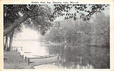 Okauchee Lake WI Blue Sky: Nickel's Point Bay~To Bern. Brim 1929