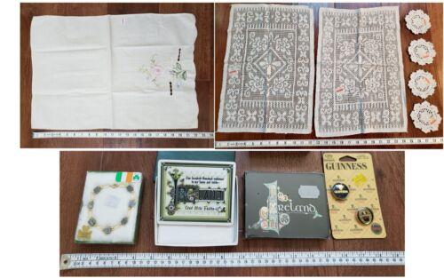 Lot! Irish Goodies: GUINNESS Pins! +Linens, Coasters, Connamara Marble Bracelet