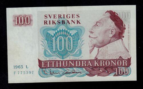 SWEDEN 100 KRONOR 1965 L PICK # 54a AU.