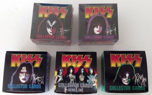KISS Band Cornerstone Card Series 1 Silver Foil 1st Printing FULL 5 Box Set 1997