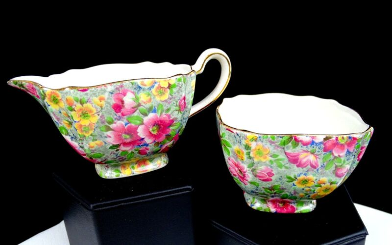 """LORD NELSON BRIAR ROSE CHINTZ FLORAL ON GREEN 2 1/4"""" CREAMER AND SUGAR BOWL"""