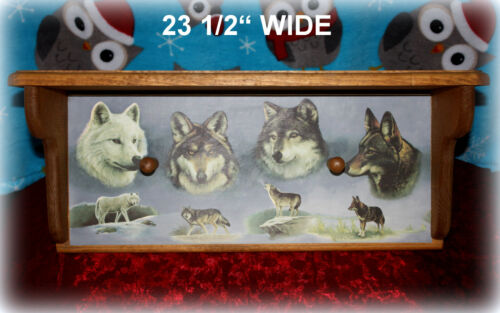 "WOLVES *NEW* WOOD WALL COAT=RACK WOLF PRINT & 2 HANGING PEGS 23 1/2"" x 9 3/4"""