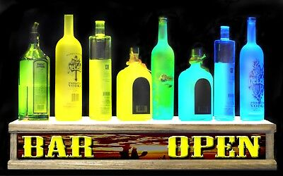 24 Lighted Shot Glass Liquor Bottle Shelf Display Western Sunset Bar Open