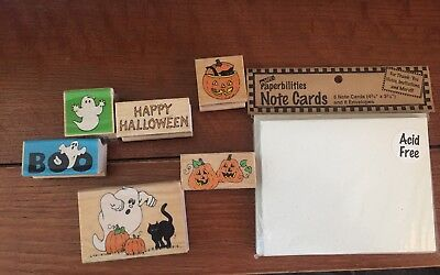 Scrapbooking Halloween Rubber Stamps and Note Cards