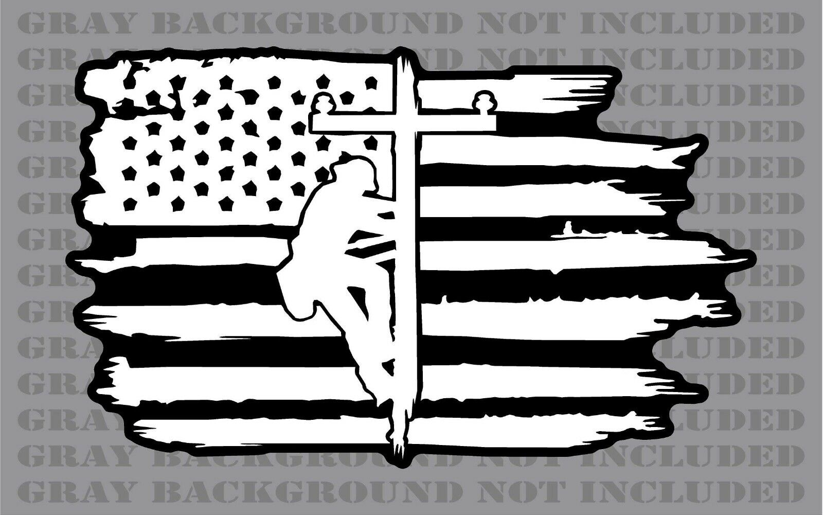 Camouflage Lineman Linesman Electrical Power Line American flag sticker decal