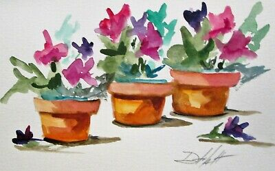 floral flower pots still life 6x9 collectible  watercolor painting art Delilah