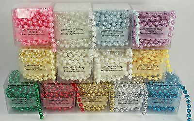Plastic Beads (6MM Faux Pearl Plastic Craft BEADS on a String - 10 Feet in a BOX - CHOOSE)