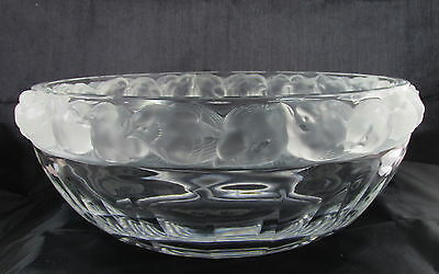 Lalique Crystal Art Glass Robinson Sparrows Birds Large Decorative Bowl
