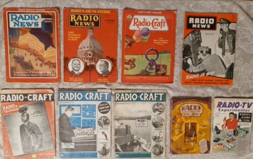 VINTAGE RADIO CRAFT RADIO NEWS  MAGAZINE LOT of 9