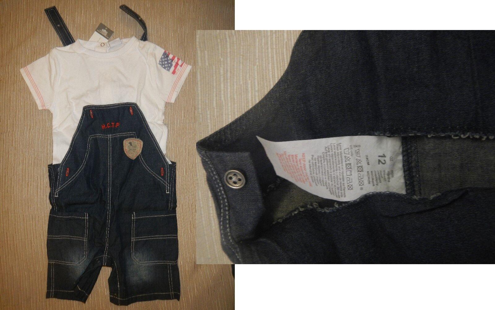 Completo Pantaloni Corti Con Bretelle E Maglia Mezza Manica 12 Mesi - Nuovi - 9,00€