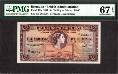 Bermuda 5/- Shillings QEII 1957 Pick-18b SUPERB GEM UNC PMG 67 EPQ