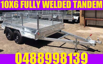 10X6 FULLY WELDED GALVANISED TANDEM TRAILER CAGED BOX TRAILER
