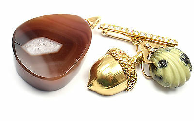 Authentic! Andrew Clunn 18k Yellow Gold Diamond Carnelian Pin Brooch Pendant