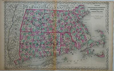 c.1860s Genuine Antique map Massachusetts, Connecticut & Rhode Island. Colton
