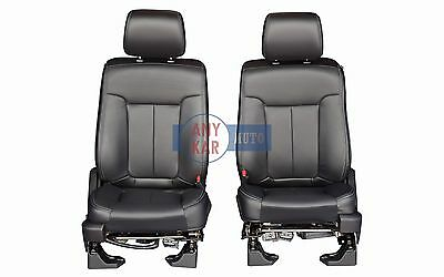 2015 2014 2013 Ford F150 Full Power Front Row Bucket Seats in Black Leather