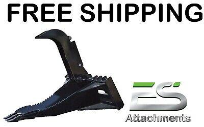 Es New Stump Bucket Grapple Skid Steer Quick Attach Loader - Free Shipping