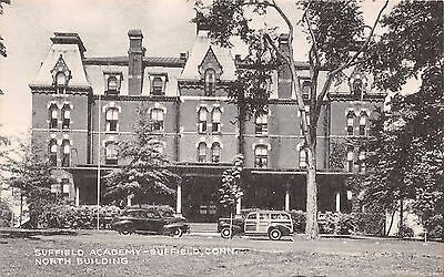 SUFFIELD CONNECTICUT SUFFIELD ACADEMY~WOOD PANEL STATION WAGON POSTCARD c1940s
