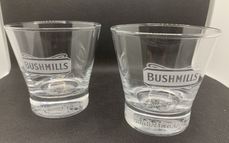 Bushmills Irish Whiskey 2008 400th Anniversary Etched Rocks Glasses, Set of 2