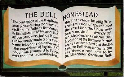 Bell Plaque (The Bell Homestead Plaque Brantford Ontario ON Unused Vintage Postcard D48)