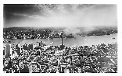 MANHATTAN NYC BIRD'S-EYE EAST VIEW FROM EMPIRE STATE BLDG. RPPC P/C