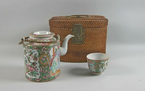 Antique Chinese Rose Medallion Teapot & Cup in Wicker/Cane Form Fitted Basket