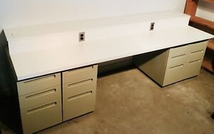 Electrified Project Bench with 4 filings cabinets