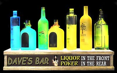 2 Led Lighted Liquor Bottle Display Personalized Poker In Front Liquor In Rear