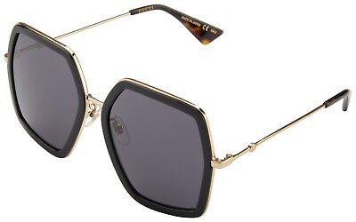 Gucci Womens Sunglasses GG0106S 001 Black Gold Havana Frame Grey Lens