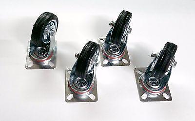 4 Pack Swivel Caster Wheels 3 Rubber Wheel Top Plate Bearing Heavy Duty New