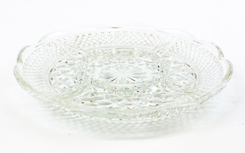 """Vintage Cut Glass Crystal Divided Relish Dish - Scalloped Edge 