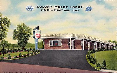 US OHIO STRONGSVILLE COLONIAL MOTOR LODGE ROUTE 42 LINEN ADVERTISING POSTCARD