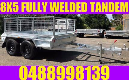 8X5 FULLY WELDED TANDEM TRAILER GALVANISED BOX TRAILER WITH CAGE