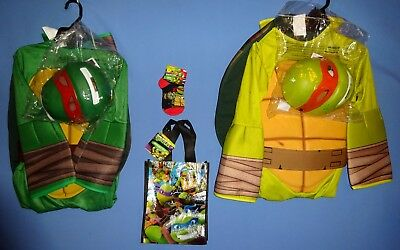Mutant Ninja Turtle costume 8-10-;Raphael;Michelangelo;socks;trick or treat bag (Ninja Turtle Costume Raphael)