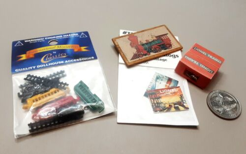 Dollhouse Miniature - Toy Train Enthusiast Items, Lionel Brand items
