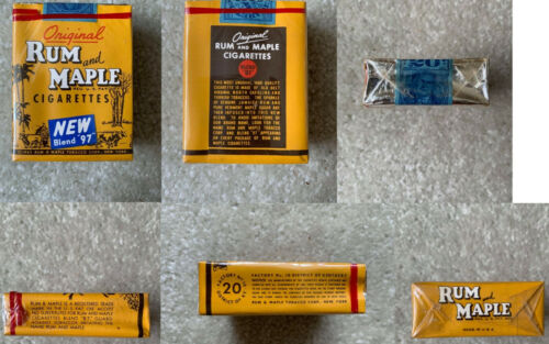 VINTAGE / COLLECTABLE 1950 RUM AND MAPLE CIGARETTE PACKET FREE SHIPPING