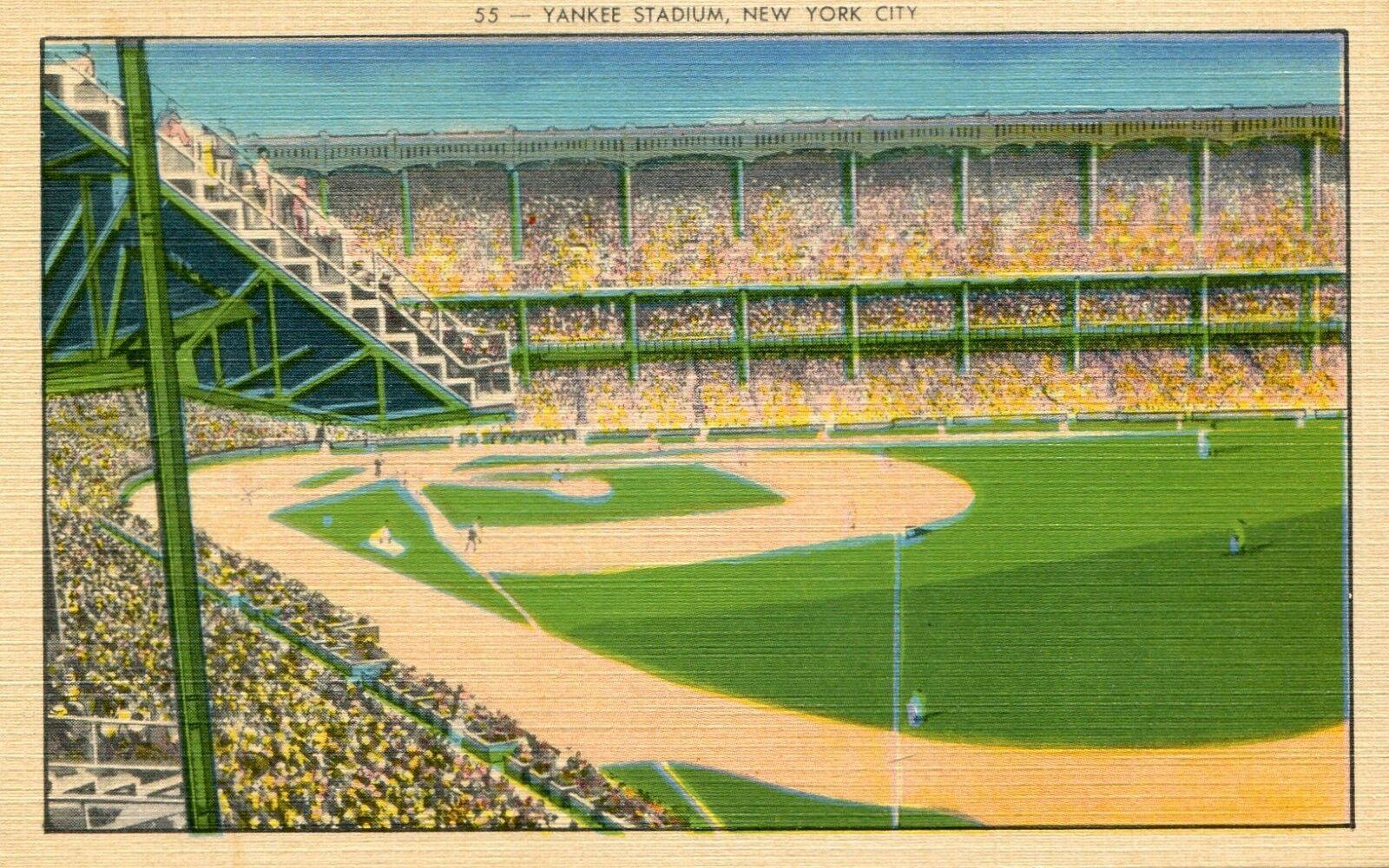 Madison Square Garden: Yankee Stadium ~New York City ~ Linen Postcard (1940s)