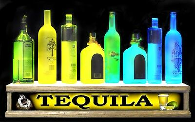 24 Led Tequila Lighted Liquor Bottle Display Shelf Shot Glass Display Bar Sign