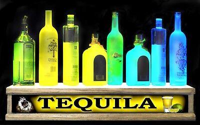 24 Led Tequila Lighted Liquor Bottle Display Shelf Shot Glass Display Bar Sign
