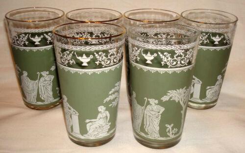 """Vintage Jeannette Hellenic Green Jasperware Greek Roman 5"""" Water Tumblers Glass"""