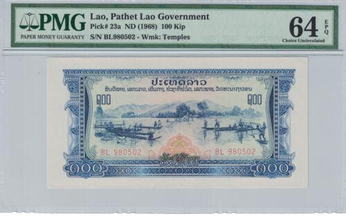 BANK of LAOS 100 KIP 1968 PICK# 23a  PMG-64 EPQ ( #677 )