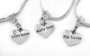 Sis Middle Little Sister Charm Set 3 Charms Gift Fits European Bracelet