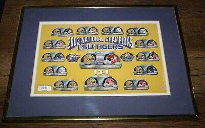 LSU TIGERS 2003 National Champions 16x12 Matted Framed Helmet Picture Lsu Framed Pictures